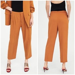 NEW Zara Pleated High-Rise Ankle Cropped Trousers